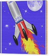 Really Cool Rocket In Space Wood Print