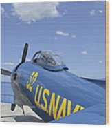 Rear View Of A F8f Bearcat Parked Wood Print