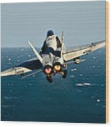 Rear View Of An Fa-18c Hornet Taking Wood Print