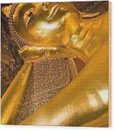 Reclining Buddha At Wat Pho, Low Angle Wood Print