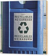 Recycling Bin Wood Print by Photo Researchers, Inc.