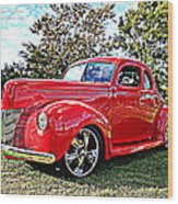 Red 1940 Ford Deluxe Coupe Wood Print