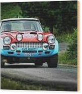 Red And Blue Fiat Abarth Wood Print