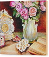 Red And Pink Roses And Daisies - The Doves Of Peace-angels And The Bible Wood Print
