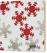 Red And Silver Snowflakes Wood Print