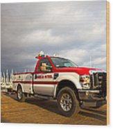Red And White Harbor Patrol Vehicle Wood Print