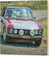 Red And White Lancia Wood Print