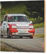 Red And White Renault 5 Wood Print
