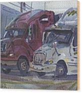 Red And White Trucks Wood Print