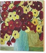 Red And Yellow Bouquet In Blue Wood Print