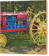 Red And Yellow Tractor Wood Print