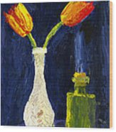 Red And Yellow Tulips In Vase Abstract Palette Knife Painting Wood Print