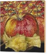 Red Apples And Core Wood Print