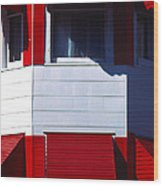 Red Awnings Wood Print