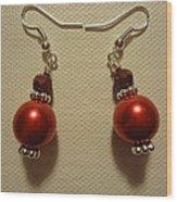 Red Ball Drop Earrings Wood Print