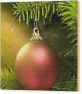 Red Ball In A Real Caucasian Fir Christmas Tree Wood Print