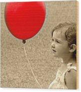 Red Baloon Wood Print