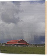 Red Barn And Stormy Sky Wood Print
