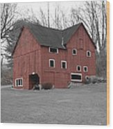Red Barn In Black And White Wood Print by Randy Edwards