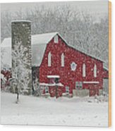 Red Barn In Heavy Snow Wood Print
