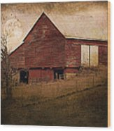 Red Barn In The Evening Wood Print by Kathy Jennings