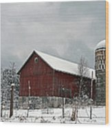 Red Barn In Winter Wood Print