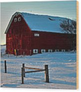 Red Barn In Winter ... Wood Print