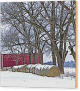 Red Barn In Winter With Hay Bales Wood Print