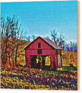 Red Barn On A Hillside Wood Print