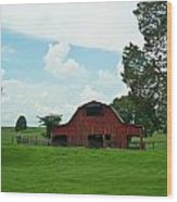 Red Barn On The Horizon Wood Print