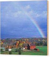 Red Barn Rainbow Wood Print