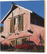 Red Barn Red Car Wood Print