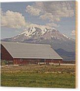 Red Barn Under Mount Shasta Wood Print