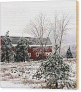 Michigan Red Barn Winter Scene Snow Landscape Wood Print
