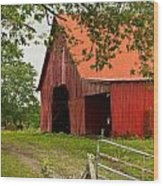 Red Barn With Orange Roof 1 Wood Print