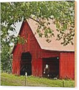 Red Barn With Pink Roof Wood Print