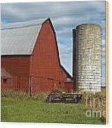 Red Barn With Silo Wood Print