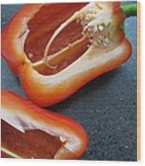 Red Bell Peppers Wood Print