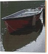 Red Boat In A Canal In The Netherlands Wood Print