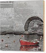 Red Boat In The Harbor At Vernazza Wood Print