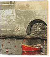 Red Boat In Vernazza Harbor On The Cinque Terre Wood Print