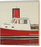Red Boat Red Door Wood Print