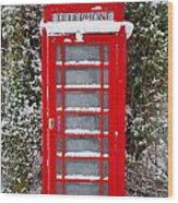 Red British Phonebox In The Snow Wood Print