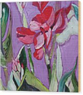 Red Canna Lily Wood Print by Suzanne Willis