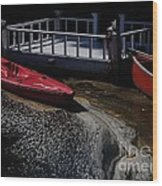 Red Canoes Wood Print by Daniele Smith
