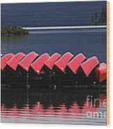 Red Canoes Maligne Lake Wood Print