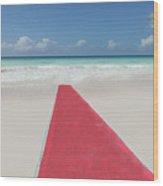 Red Carpet On A Beach Wood Print