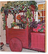 Red Cart Of Flowers Wood Print