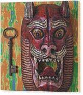 Red Cat Mask Wood Print