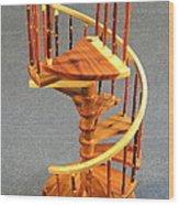 Red Cedar Rustic Spiral Stairs Wood Print
